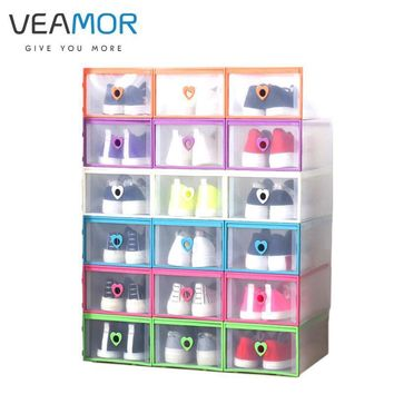 VEAMOR 1pc Women 's Drawer - style Transparent Shoe Box Thickened Plastic Boxes Shaped
