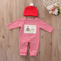 2Pcs/Set Newborn Baby Girls Boys Kids Red Stripe Jumpsuit Romper Winter Clothes Outfits With Red Hat