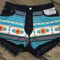 Vtg 80's 90's TRIBAL women's LEVI'S 550 cut off shorts * Size 12 * STUDDED