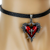 Red Sacred Heart Gothic Cross Leather Choker Necklace Jewelry