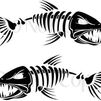Skeleton Fish 001 Vinyl Graphic Decals