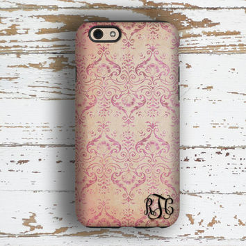 Monogram iphone 6s case, Floral Iphone 5 case, Vintage iPhone 5c case, Pretty iPhone 6 + case, Gift for women, Grunge pink purple (9941)