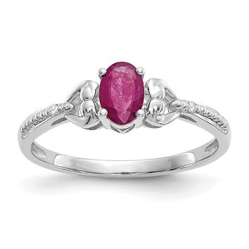 10k White Gold Oval Genuine Ruby Diamond Hearts Ring