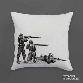 Soldier Throw Pillow | Screen Printed Civil War Soldiers Couch Pillowcase
