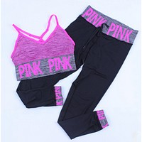 Victoria's secret PINK Lingerie Bra Sweatpants  Exercise Fitness Gym Yoga Two-Piece