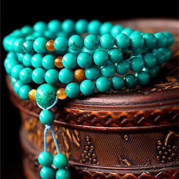 Tibetan 108 beads 6/8mm Turquoise Enhanced Stone Meditation  Mala
