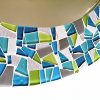 Oval Mosaic Mirror - Teal, Lime Green, Gray