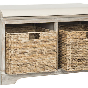 Freddy Wicker Storage Bench Vintage White