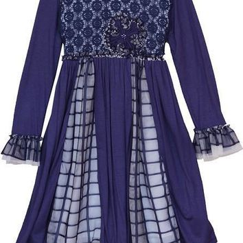 Isobella & Chloe Navy Lace Ruffle Long Sleeve Empire Waist Dress Fall 2015