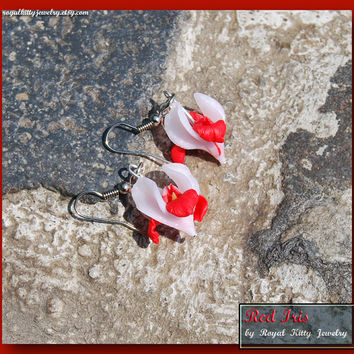 Red Iris Flowers, red polymer clay iris flowers, handmade earrings, red iris flowers