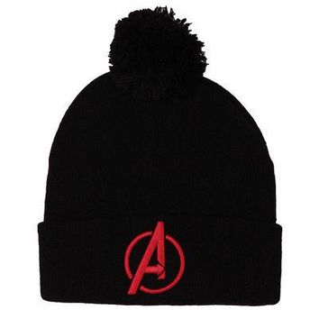 The Avengers Logo Marvel Comics Licensed Adult Cuff Beanie Hat - Black w/ Pom