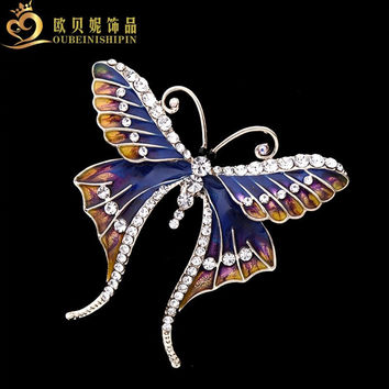 OBN Large Insects Crystal Cloisonne Enamel Butterfly Brooch Fashion Lapel Animal Broche