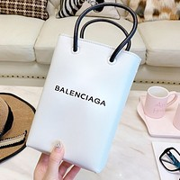 Balenciaga Newest Popular Women Shopping Leather Tote Handbag Shoulder Bag White