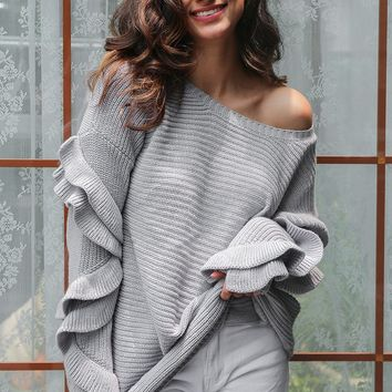 Knit Tops Autumn Round-neck Long Sleeve Casual Sweater [11942979471]