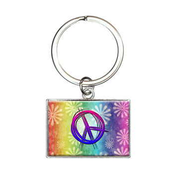Hippie Peace Signs and Flowers Rectangle Keychain