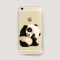 Clear iPhone Case Panda, Clear iPhone 6 Plus Case, iPhone 6s Clear Case, Clear iPhone 5 Case, iPhone 6 Cute Case, Animal Print Phone Case