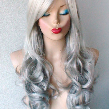 Summer Special // Silver Ombre wig. White silver ombre with gunmetal  Long curly hair long side bangs wig. Durable daily use / Cosplay wig.