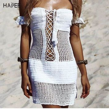 Sexy Off Shouder Crochet Beach Cover Up