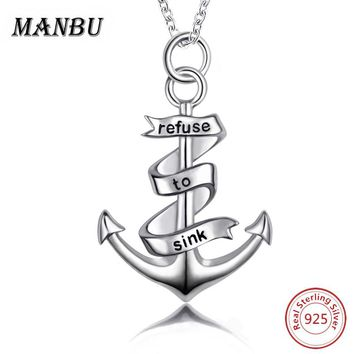 2017 Hot Necklaces & Pendants 925 Sterling Silver Fashion Anchor Pendant Necklaces For Women Chain Statement Necklace Jewelry