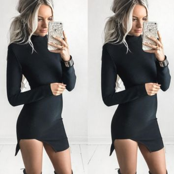 Black high-necked Slit irregular hem  dress B0016480