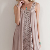 Crochet Lace Strap Dress - Mocha