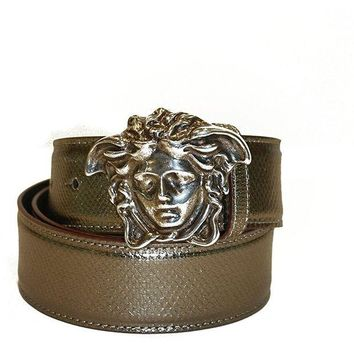 LMFON Versace Belt Bronze/Brown Leather with Silver Medusa Logo 90cm (36 inches)
