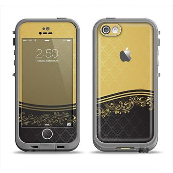 The Gold and Black Luxury Pattern Apple iPhone 5c LifeProof Fre Case Skin Set