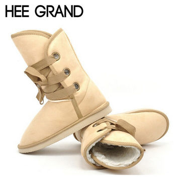 HEE GRAND 2016 Winter Snow Boot Women Shoes Man-made Fur Buckle Motorcycle Ankle Boots Warm Shoes Woman Flats Size 36-40  E199