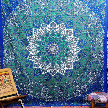 Queen mandala Tapestry,Hippie Indian mandala Tapestry Throw Bed spread, Dorm Tapestry, Bohemian Tapestry, Vintage Decorative Wall Hanging