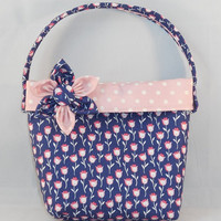 Little Girls' Navy and Pink Floral Purse With Detachable Fabric Flower Pin