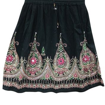 Womens Mini Skirt Sequin Embroidered Bohemian Gypsy Sexy Medieval Skirts: Amazon.ca: Clothing & Accessories
