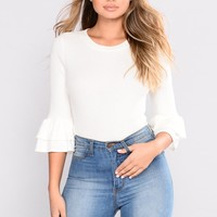 Got What You Want Ruffle Top - Soft White