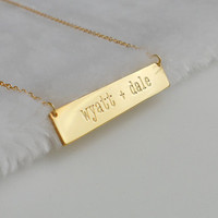 Two Names Bar Necklace,Any Names Bar Necklace,Gold Bar Necklace,Engraved Name Necklace,Personalized Double Names Necklace,Two Names Necklace