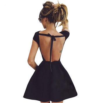 Backless Bandage Party Dress Princess Women Black Sexy Elegant Evening Victorian Summer Dresses