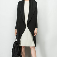 Flapper Collar Cashmere Blend Knit Coat OU0345