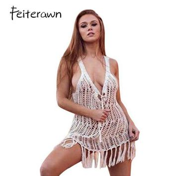 DKLW8 Feiterawn 2017 Swimsuit Cover Up Summer Sexy Women Beachwear Crochet Hollow Out Tassel Bikini Bathing Suit Cover Up DY1930