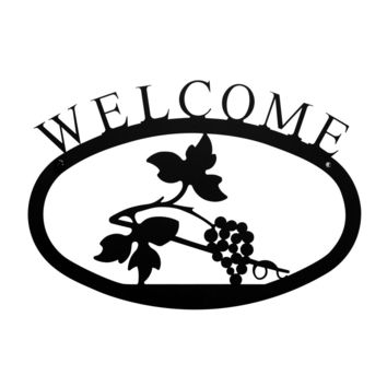Wrought Iron Small Grapevine Welcome Home Sign Small