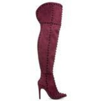 CR Red Suede Thigh High Boot