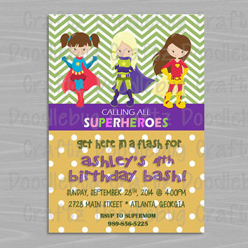 Printable GIRL Superhero Birthday Party Invitations! Custom Personalized. 24hr turn around. Choose your girls! - Supergirl