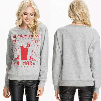 Summer Christmas Alphabet Pattern Pullover Tops Knit Hoodies [6407734148]