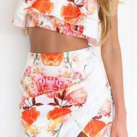 CUTE FLOWER TWO PIECE DRESS HIGH QUALITY