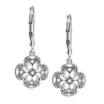 Vintage Style Diamond Maltese Cross Earrings in Sterling Silver