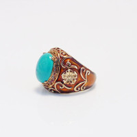 Turquoise Ring, Sterling Silver, Gold Vermeil, Relios Silver, Size 7 Ring, 925 Ring, Estate Jewelry, Womans Ring, Carolyn Pollack