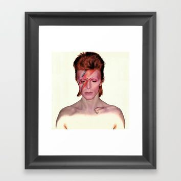 David Bowie Framed Art Print by Neon Monsters