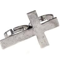 Imixlot® Vintage Retro Alloy Cross 2 Fingers Double Ring Adjustable