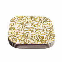"""Anneline Sophia """"Squiggles in Gold"""" Yellow White Coasters (Set of 4)"""