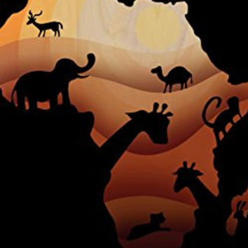 'African Animals' Sahara Bush Wildlife - Plywood Wood Print Poster Wall Art