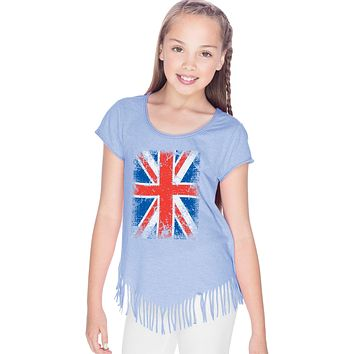 Girls Union Jack T-shirt Flag Fringe Tee