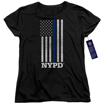 NYPD Womens T-Shirt Thin Blue Line American Flag Black Tee