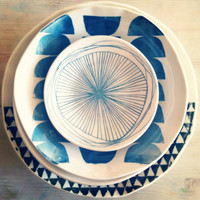 porcelain 8 dish set screenprinted design.   MADE TO ORDER